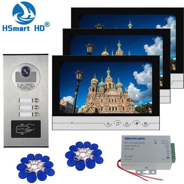 9 дюймовый домашний видеодомофон, комплект домофона с колокольчиком, домашняя семейная камера с индуктивной картой для двери с монитором 2/3, система внутренней связи
