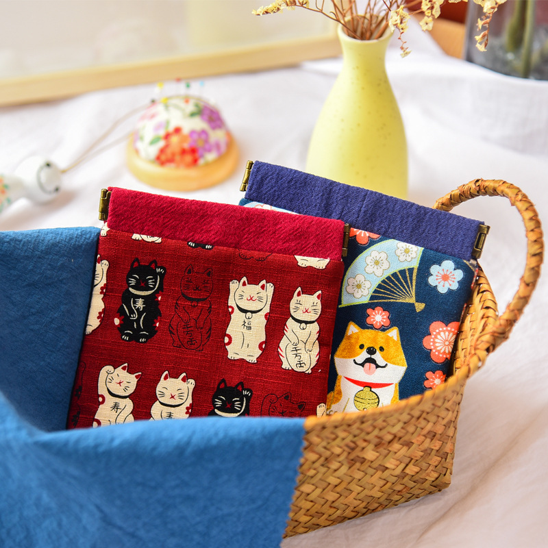 Japanese-style Retro Handmade Fabric Wallet Cotton Linen Shrapnel Mouth Gold Package And Wind Hipster Purse Women's Small