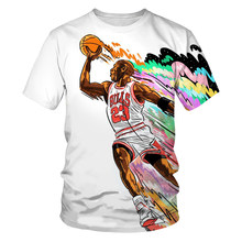 Summer loose and comfortable men's and children's short-sleeved cool basketball star pattern 3DO neck T-shirt
