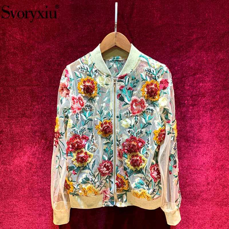 Svoryxiu Sexy Mesh Transparent Jackets Coat Womens luxur Beading Embroidery Applique Designer Autumn Thin Outwear