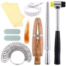 12 шт. набор инструментов для изготовления ювелирных изделий, кольцо оправки, размер кольца, зажим для деревянного кольца, резиновый молоток, пластиковый размер кольца, ювелирные изделия