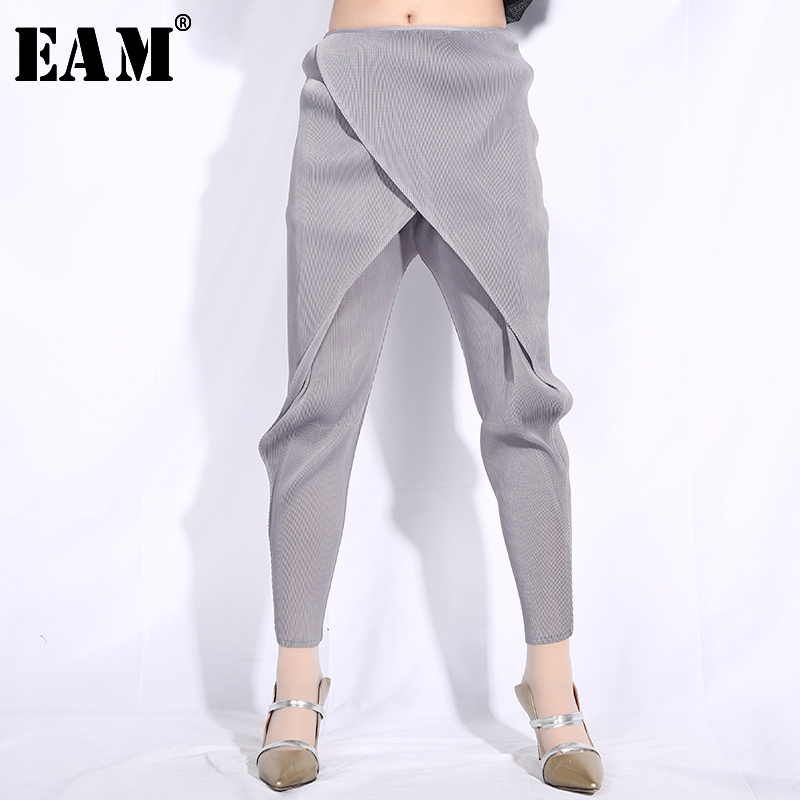 [EAM] High Elastic Waist Gray Pleated Leisure Harem Trousers New Loose Fit Pants Women Fashion Tide Spring Autumn 2019 JG013