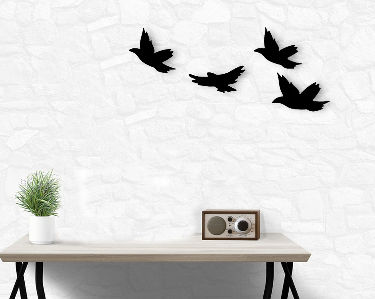 BK Home Birds Wood Wall Decoration Modern Convenient Reliable Decoration Gift Quality Design Simple Cool Black Color