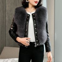 High quality Winter Real Leather Short Coat Women Fox Fur Add cotton Motorcycle Jacket Female Rivet Sheep Skin Outerwear A3162