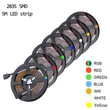 Гибкая Водонепроницаемая светодиодная лента RGB с теплым, холодным белым, красным, зеленым, синим, желтым светом 2835, 300 светодиодов, 60 светодио...