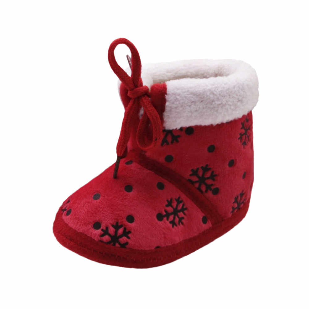 Natal da criança do bebê sapatos de Inverno botas de neve impressão Cópia Macia Sole Prewalker Sapatos Quentes botas de Neve Botas de Algodão sapatos de Tecido Y912