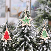 Christmas Hanging Wooden Pendants Drop Ornaments Star Tree Kids Gift DIY Xmas Decorations
