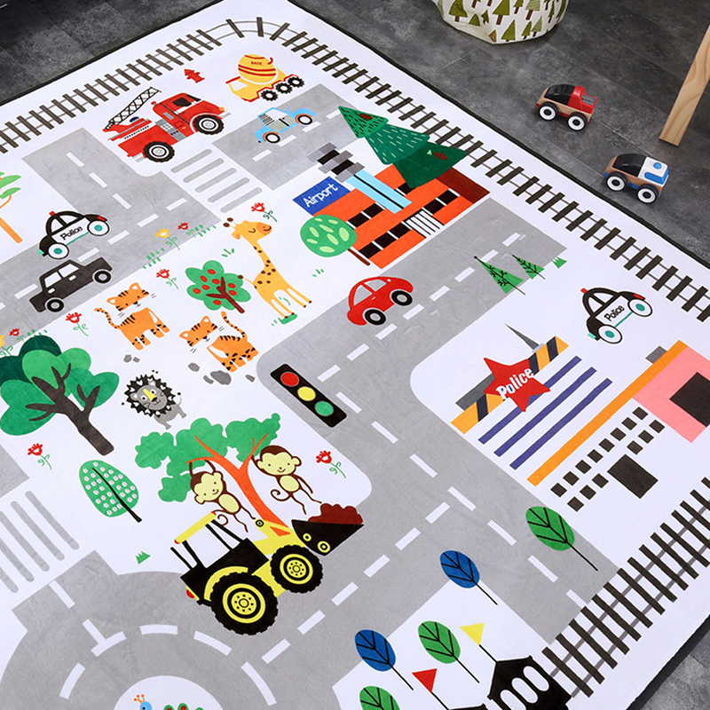 Baby Infant Play Mat Kid Crawling Mat Cartoon Carpet Animal Printing Kids Rug Velvet Pad Non-slip Room Accessories BXX022