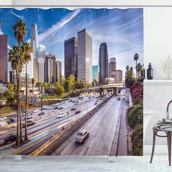 Travel Shower Curtain Downtown Cityscape of Los Angeles California USA Avenue Buildings Palms Print Bathroom Decor Set with Hook