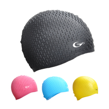 Silicone Particle 3D Waterproof Swimming Cap FOR Men & Women Cover Ear Bone Pool Long Hair Hat 3 Color