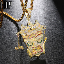 Hip Hop Bling Cubic Zircon UKA Mask Copper Shiny Iced Out Rapper Necklace & Pendants For Men Jewelry пюре агуша фруктовое пюре яблоко банан 115 г