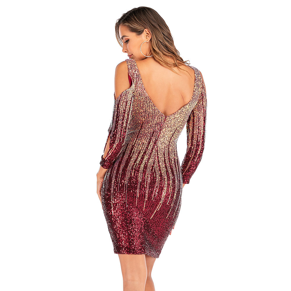 Sexy Off Shoulder Mini Summer Dress Women vintage Backless Sequin Christmas Woman Party Dress Club outfits Dresses Vestidos 2020 4