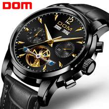 Dom relógio mecânico masculino pulso automático retro relógios homem à prova dwaterproof água preto completo-aço relógio novo 2020