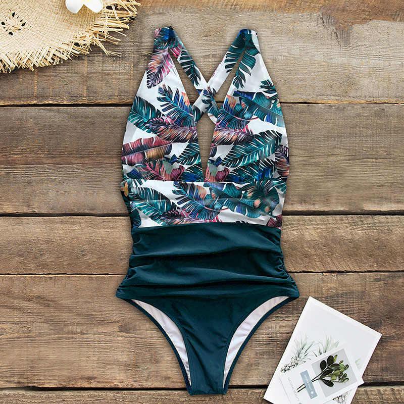 2020 seksi tek parça mayolar kadın omuz çiçek kadın mayo Push Up mayo takım elbise Bodysuits plaj kıyafeti fırfır Monokini
