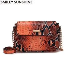 Small Snake Print Messenger Bag Women Cell Phone Purse Crossbody