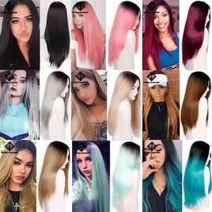 Image 5 - Длинные Синтетические парики Spring sunshine, термостойкие, шелковистые, прямые, 22 дюйма, бордовые, черные, серые, розовые, коричневые