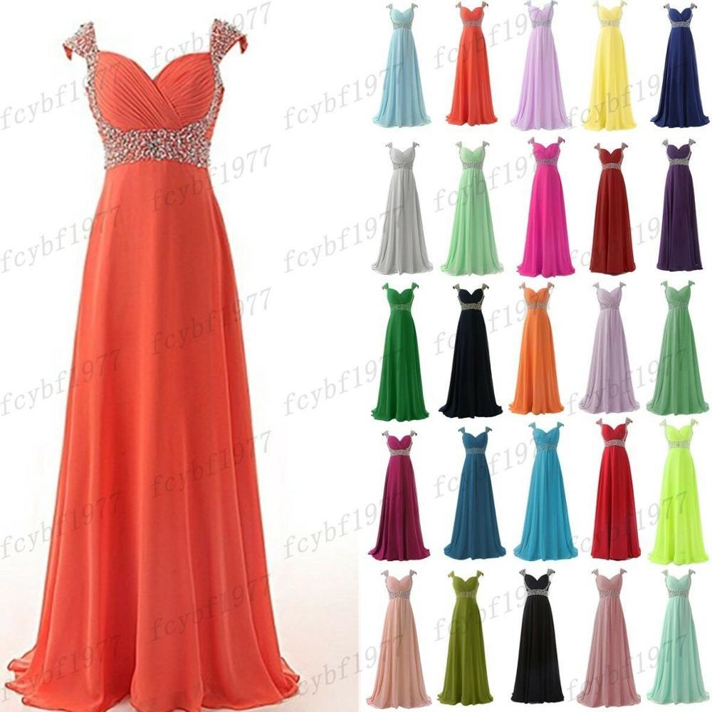 Chiffon A-line Sweetheart Elegant Cap Sleeve Beading Crystals Bridesmaid Dresses Wedding Party Dresses Robe De Soiree Lace Up