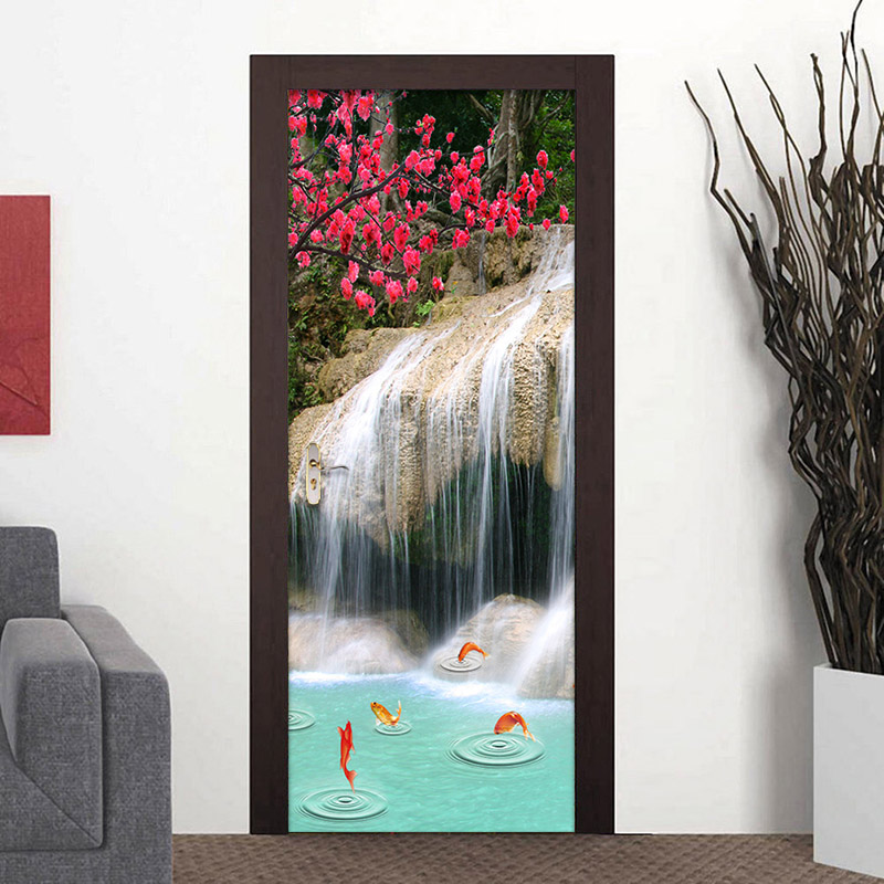 3D Waterfalls in the National Park Self-adhesive PVC Stair Sticker Wall Murals