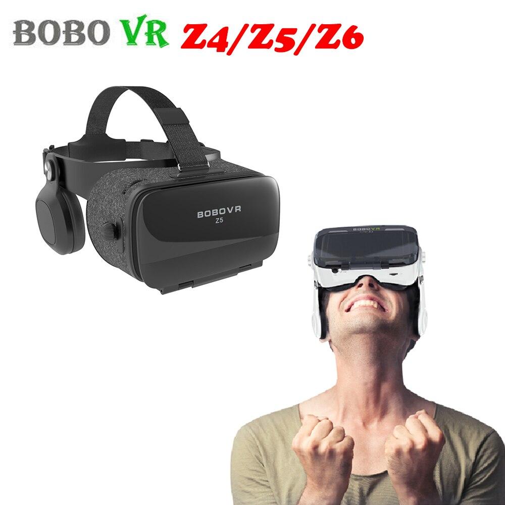"""Bobovr z4/z5/z6 couro 3d realidade virtual vr óculos papelão capacete fone de ouvido estéreo bobo vr para 4-6 """"smartphone do telefone móvel"""
