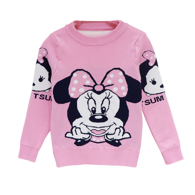 Cartoon Mickey Children's Clothing Plush inside winter boy girl kid thick Knitted high collar pullover fluff kids Sweaters 5