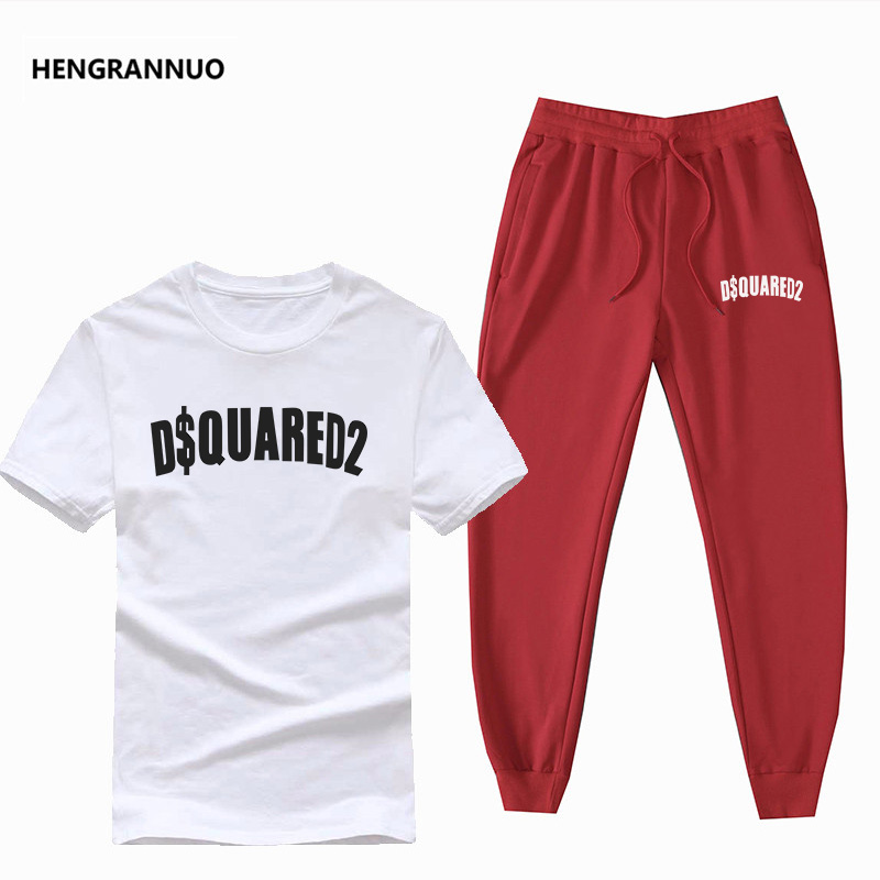 Hot Sale Tracksuit Men Sets Men Brand Clothing 2 Piece Set Men Printed T Shirt + Jogger Pants Cotton Men T Shirt Set Sportswear