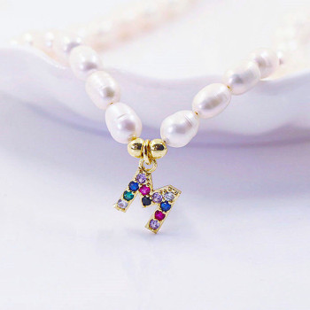 Fashion Natural Freshwater Pearl Letter Choker Necklace/Bracelet Women Baroque Pearl Initial 26 Alphabet Name Pendant Jewelry