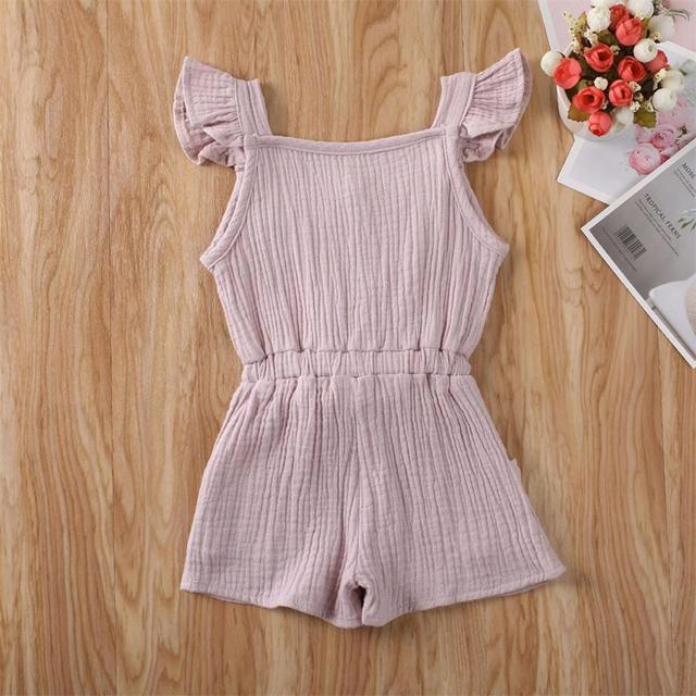 Sweet Solid Color Ruffle Bowknot Romper for Baby Girls Romper Cotton Linen Jumpsuit Infant Baby Summer Rompers B2