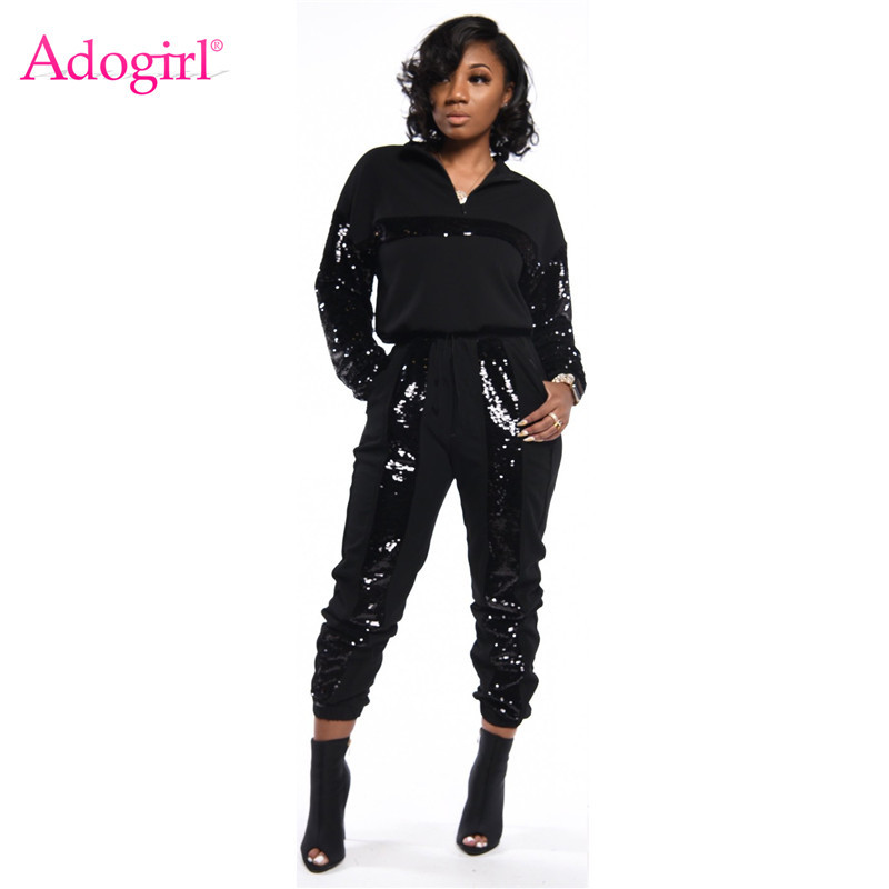 Adogirl Sequins Patchwork Casual Two Piece Set Women Tracksuit Zipper Turtleneck Long Sleeve Pullover Sweatshirt Top Pants Suit