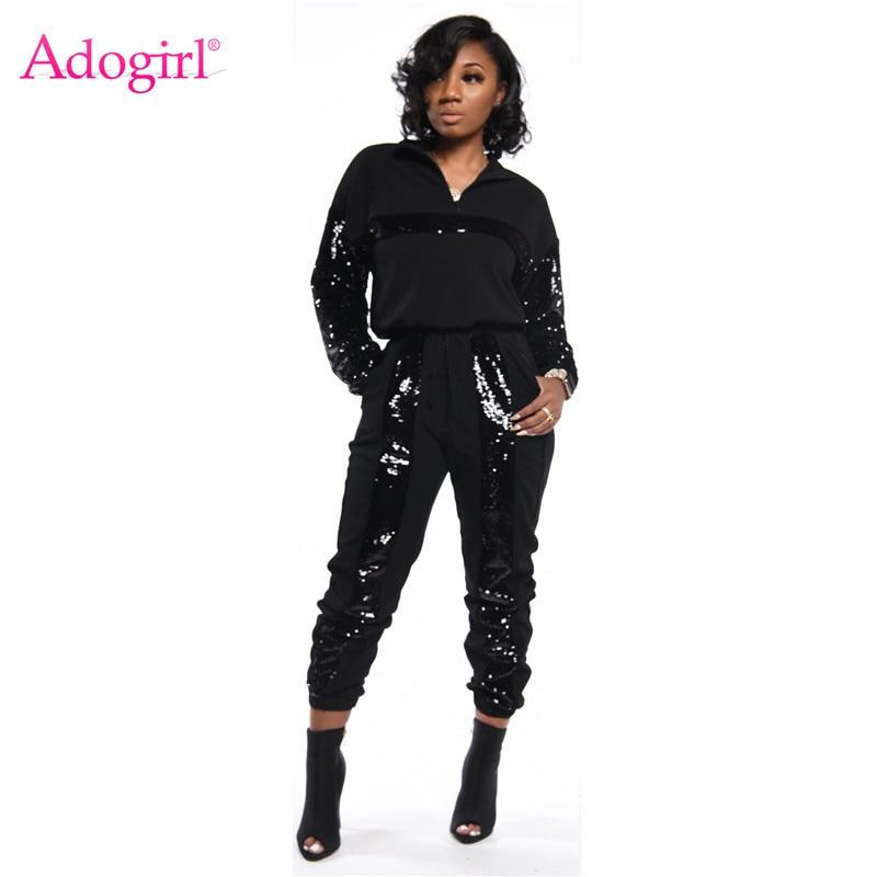 Adogirl Sequins Patchwork Casual Two Piece Set Women Tracksuit Zipper Turtleneck Long Sleeve Pullover Sweatshirt Top Pants Suit