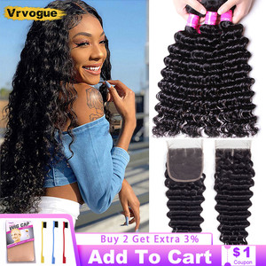 Deep Wave Bundles With Closure Brazilian Weavings With 4x4 Closure Smooth Weaving Human Hair Curls Remy Hair Extension Vrvogue