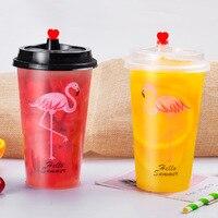 Flamingo Xícara de Chá Descartável Rede hong cayi Band Pass Versão Padrão Transparente Suco de Fruta Copo De Plástico De Embalagens De Bebidas C|Caldeiras de ovo| |  -