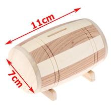 Money-Box Savings Piggy-Bank Safe Wooden 1pc Wine-Barrel Handmade