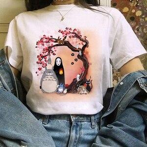Женская футболка Тоторо Studio Ghibli футболка с принтом и с короткими рукавами; Верхняя одежда Harajuku Kawaii рубашка свободная женская обувь повседневные топы; одежда Футболки      АлиЭкспресс