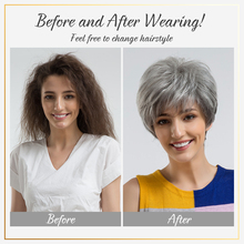 BLONDE UNICORN Fluffy Pixie Cut Short Hair Wigs Ash Gray Black Ombre Highlights Blend Human Hair Wig With Side Bangs For Women
