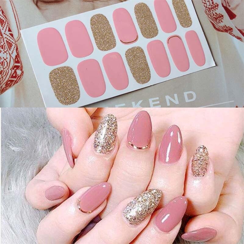2020 разработан полный обертывания блестящие, дизайн ногтей наклейки многоцветные наклейки для ногтей s полоски DIY салон маникюр Прямая поста...
