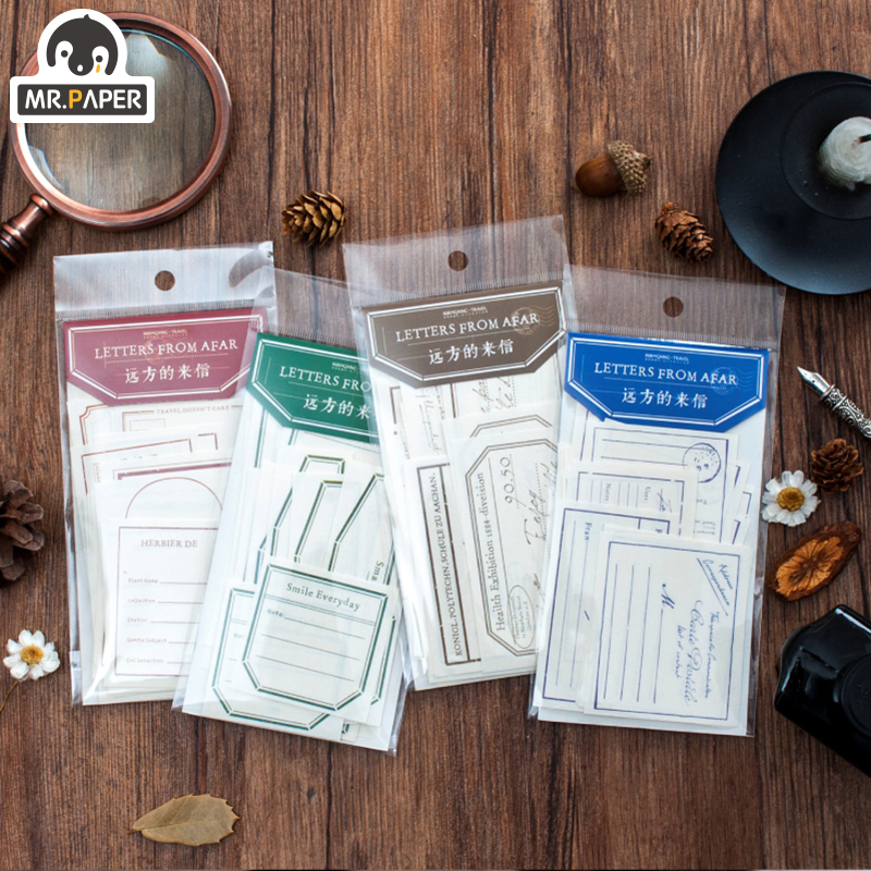 Mr.Paper 30pcs/lot 4 Designs Letters From A Far Special Paper Memo Pads Loose Leaf Notepad Diary Creative Writing Note Memo Pads