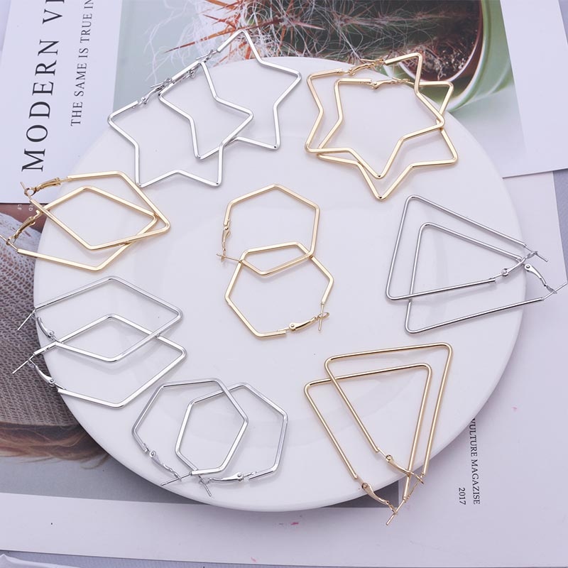 Big Statement Fashion Gold Silver Geometric Earrings For Women Metal Pendant Earrings Square Round Triangle Star Earring 2019
