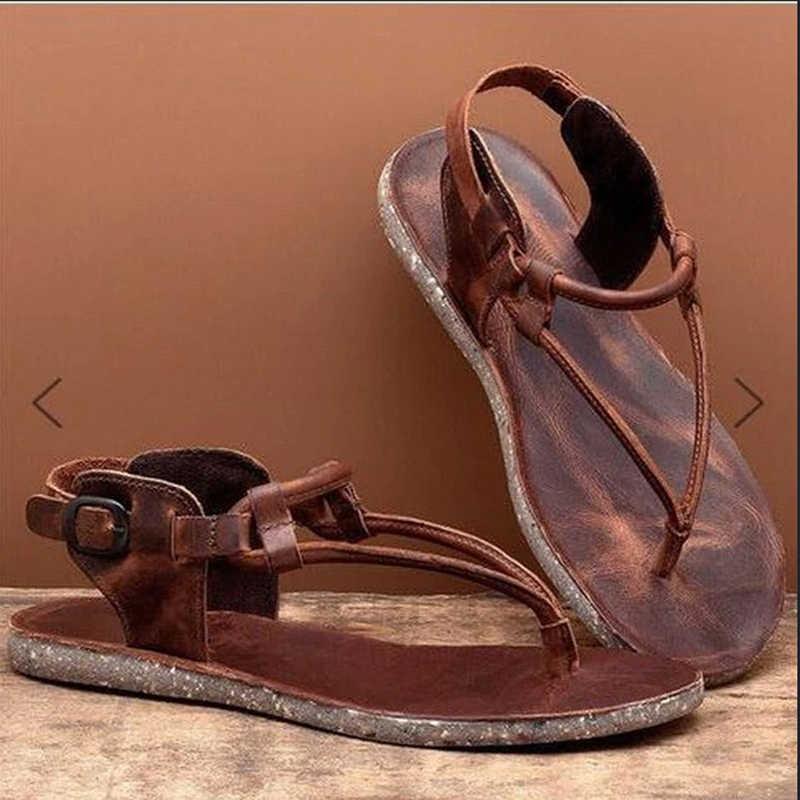 BLWBYL letnie klipsy skórzane sandały Zip Flip-flop sandały duży rozmiar płaskie komfort oddech wygodne buty Slip-on Beach