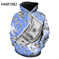 2021 New Money Pattern 3D Hoodie Men's and Women's Children's Spring and Autumn Cool Sweatshirt Youth Loose Casual Pullover