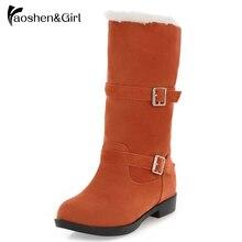 Haoshen& Girl/женские зимние ботинки на плоской подошве; теплые плюшевые ботинки до середины икры с двойной пряжкой; модная женская обувь на плоской подошве; Размер 9