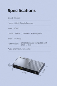 Image 5 - Unnlink hdmi 2.0 オーディオ extractor 2 で 1 アウト 2 × 1 スイッチ uhd 4 18k @ 60 hz HDCP2.2 分割 5.1ch spdif toslink 2.1ch 3.5 ミリメートルアークため PS4 テレビ