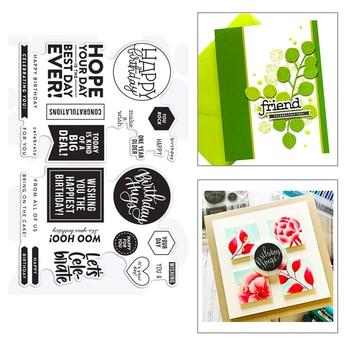 ¡Novedad de 2020! Troqueles de corte de Metal con etiqueta de Marco rectangular circular de cumpleaños y sentimiento para hacer tarjetas