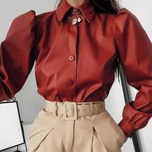 الذهب الأيدي الخريف الجلود بلوزة المرأة طويلة الأكمام نفخة بلوزة Vintage قميص الإناث الشتاء بلوزة غير رسمية الشارع الموضة