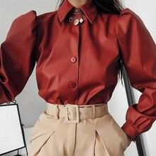 Ouro mãos outono blusa de couro feminino manga longa blusa de sopro do vintage camisa feminina inverno casual moda rua blusa casual