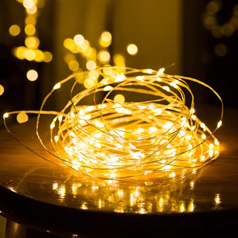 Guirlande de noël, guirlande de noël, lampe de décoration intérieure pour chambre à coucher et mariage, LED cordes lumineuses, 1-10M, fil de cuivre 3