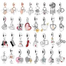 1 шт. высокое качество новая мода Любовь Подвеска в виде сердца Fit Pandora Браслеты для женщин DIY ювелирные аксессуары Рождественский подарок