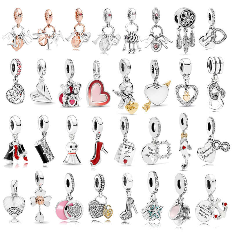 1pc High Quality New Fashion Love Heart Pendants Charms Fit Pandora Bracelets For Women DIY Jewelry Accessories Christmas Gift