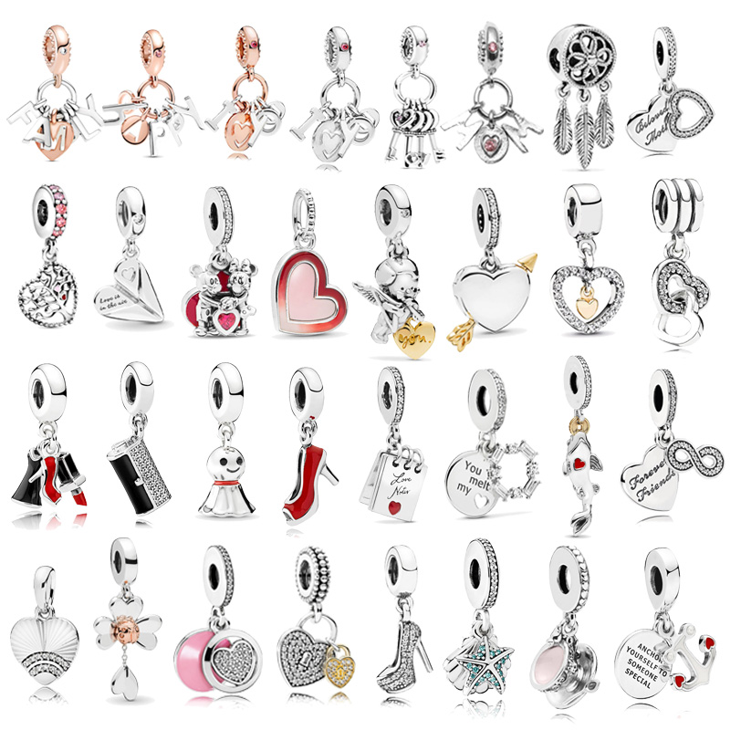 1pc High Quality New Fashion Love Heart Pendants Charms Fit Pandora Bracelets For Women DIY Jewelry Accessories Christmas Gift(China)
