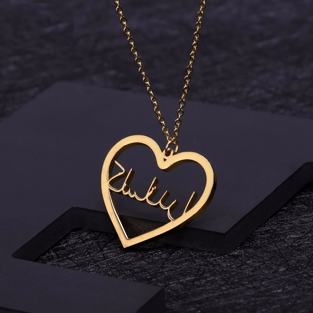 Personalized Heart Pendant Necklace Customized Arabic Nameplate Necklaces For Women Birthday Gift Jewelry