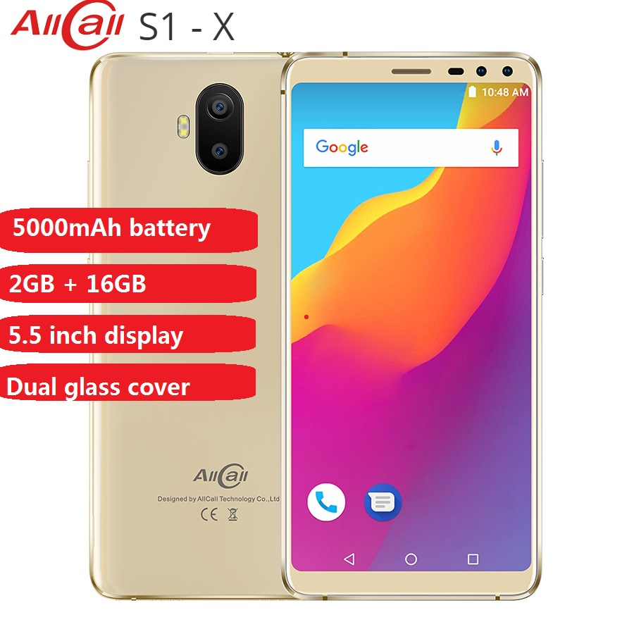 AllCall S1 3G Smartphone 5.5'' Android 8.1 MT6580 Quad Core 2GB RAM 16GB ROM 13.0MP+2.0MP Dual Rear Camera 5000mAh Mobile Phones